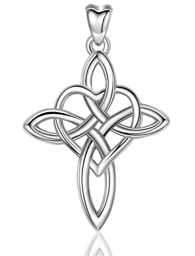 Jewelry Trends Eternity Heart Cross Celtic Knot Sterling Silver Pendant Necklace 18""