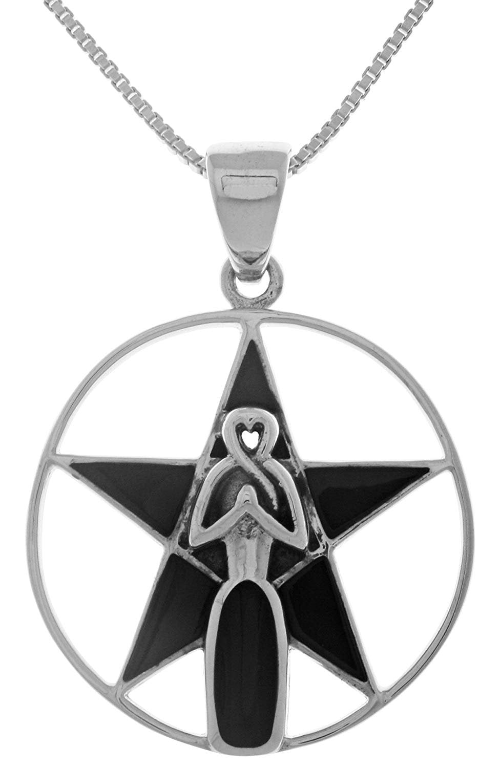 "Jewelry Trends Sterling Silver Goddess Pentacle Pendant Necklace 18"" Created Black Onyx"