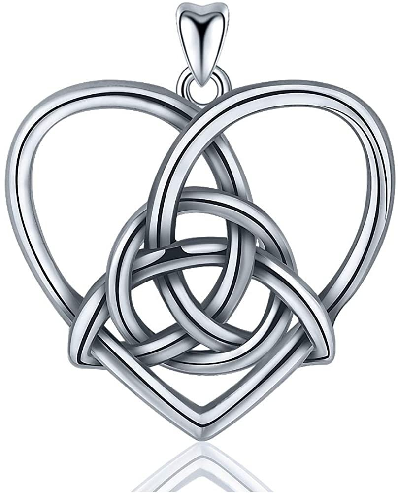 Jewelry Trends Eternity Heart Celtic Knot Sterling Silver Pendant Necklace 18""