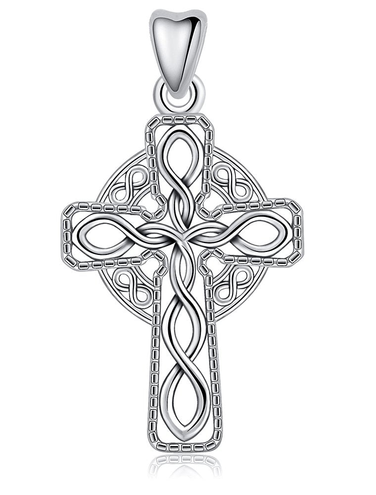Jewelry Trends Eternity Cross Celtic Knot Sterling Silver Pendant Necklace 18""