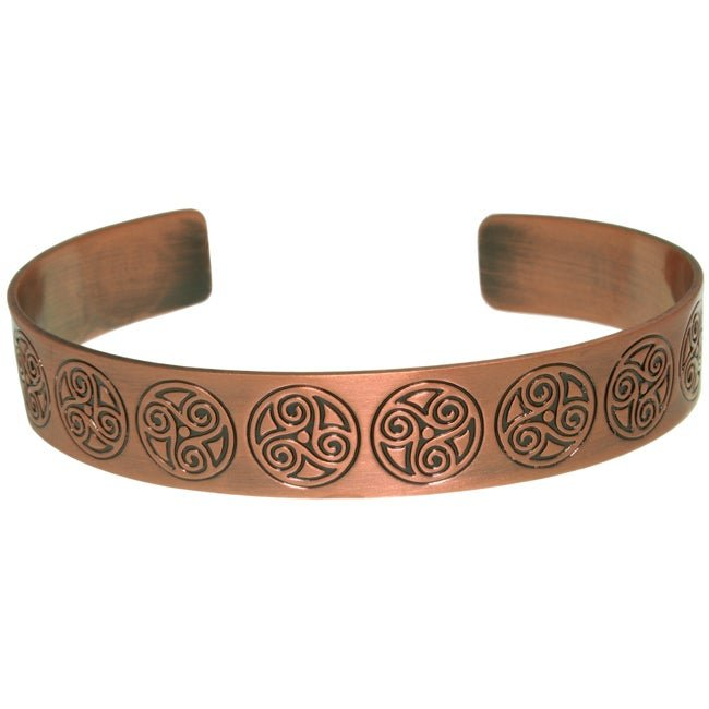 Jewelry Trends Copper-plated Brass Celtic Triskelion Circle Cuff Bracelet