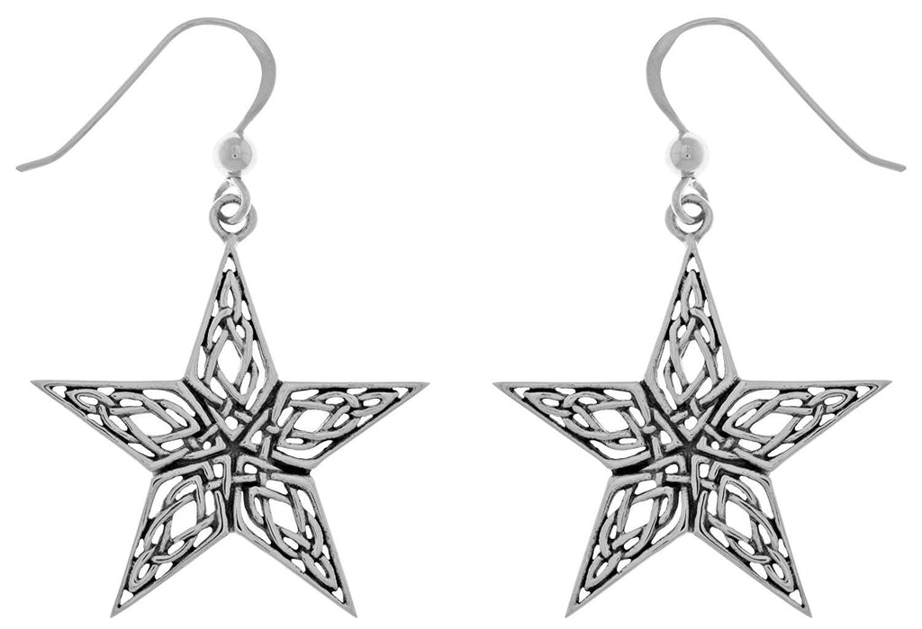 Jewelry Trends Sterling Silver Celtic Style Knotwork Star Dangle Earrings