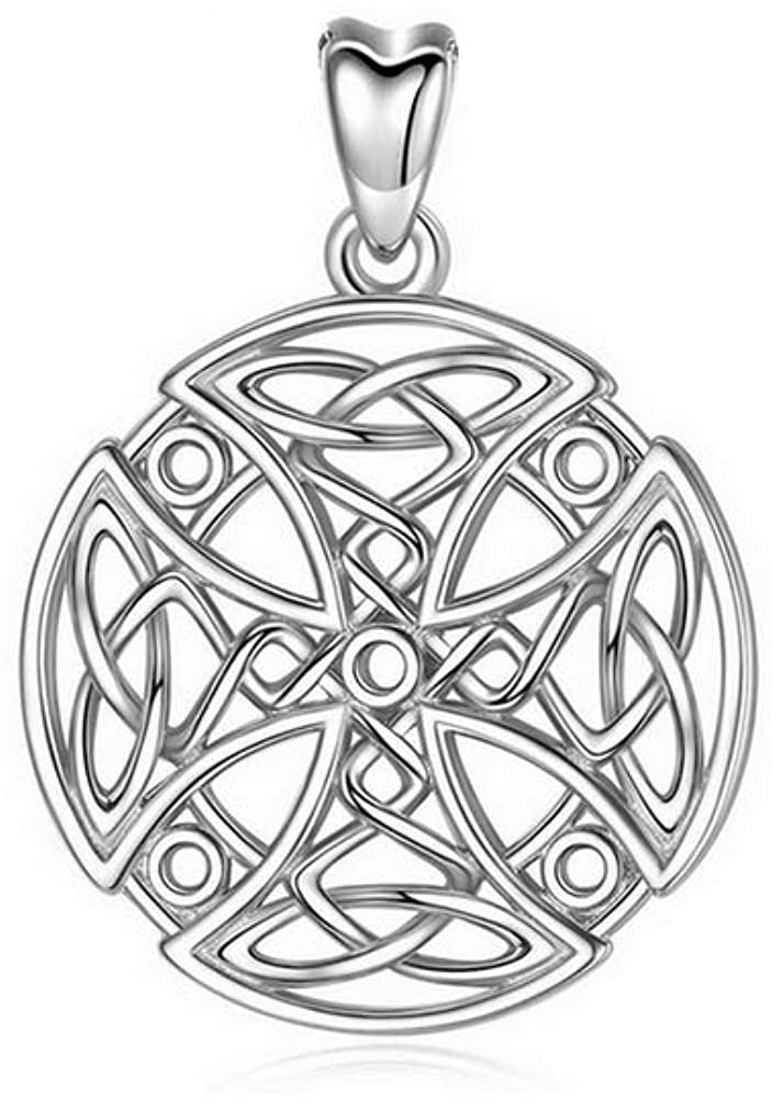 Jewelry Trends Knights Templar Celtic Cross Round Sterling Silver Pendant Necklace 18""