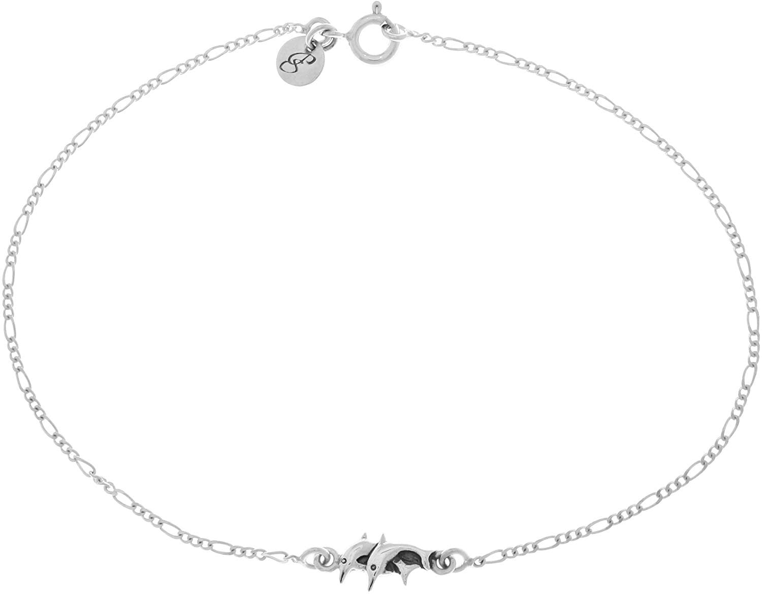 Jewelry Trends Sterling Silver Double Swimming Dolphins 9 Inch Anklet