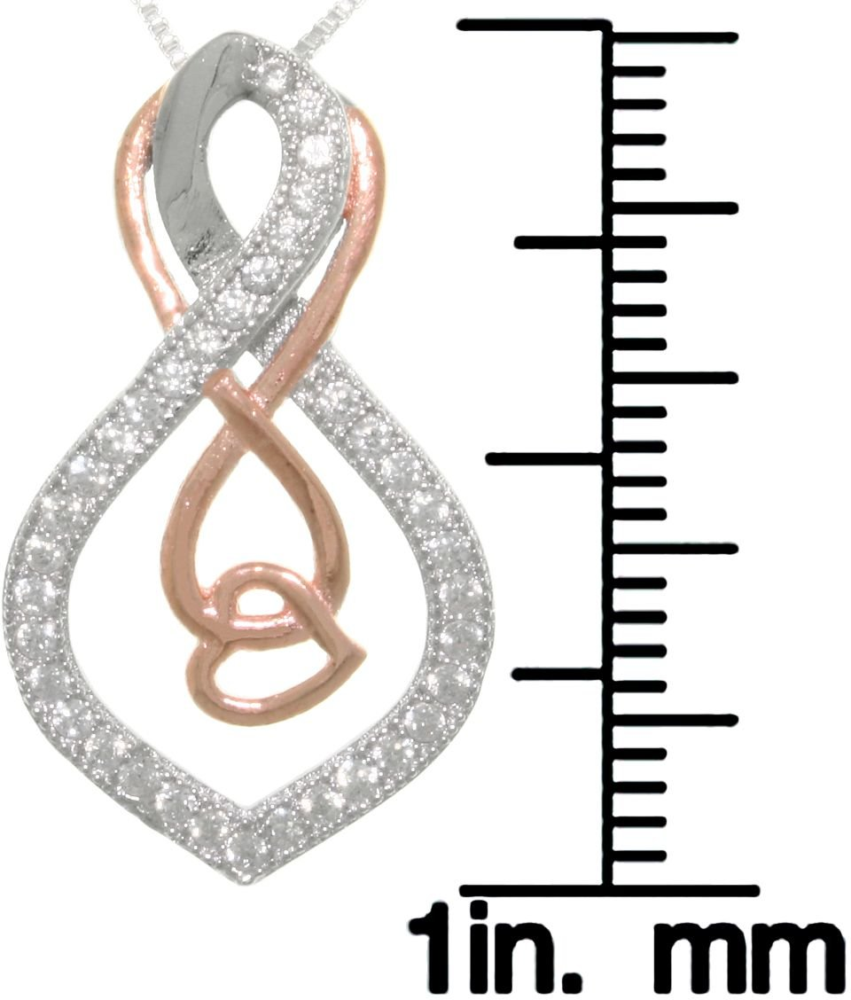 Jewelry Trends Sterling Silver and Rose-Gold Double Infinity Knot Heart Pendant with Pave CZ on 18 Inch Box Chain Necklace