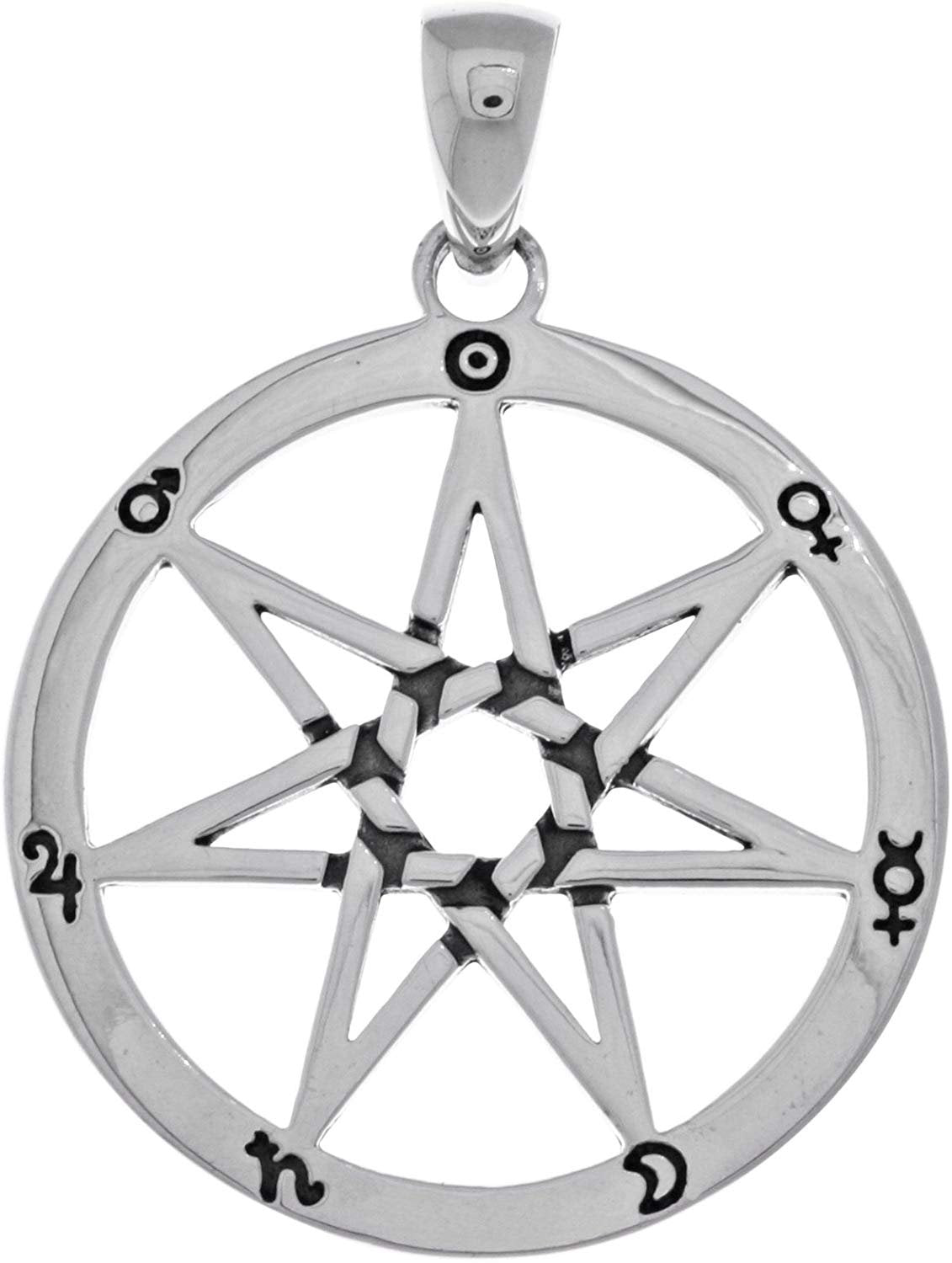 Jewelry Trends Sterling Silver Seven Point Fairy Star Heptagram Pendant