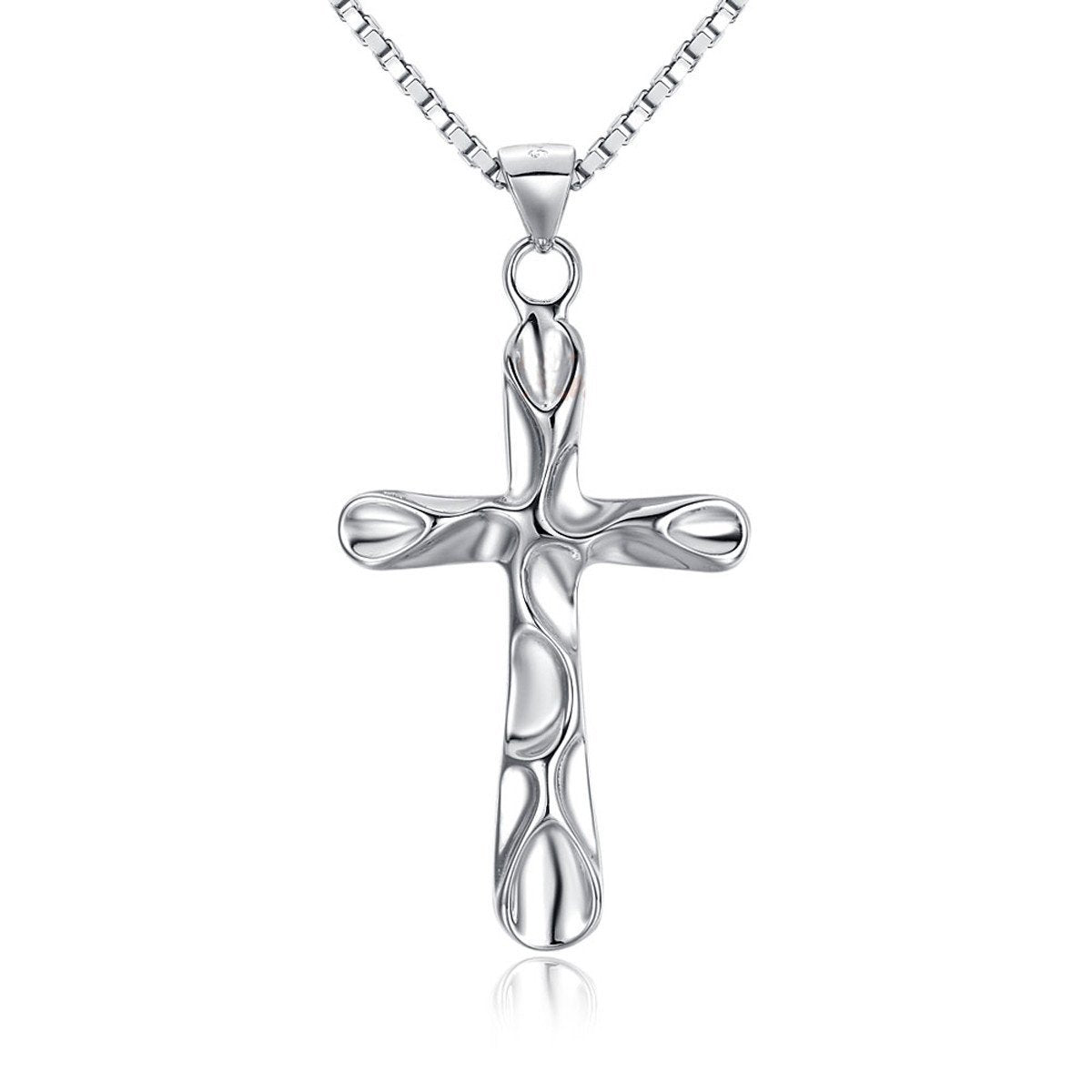 Jewelry Trends Sterling Silver Cross Pendant with Sculpted Design on 18 Inch Box Chain Necklace