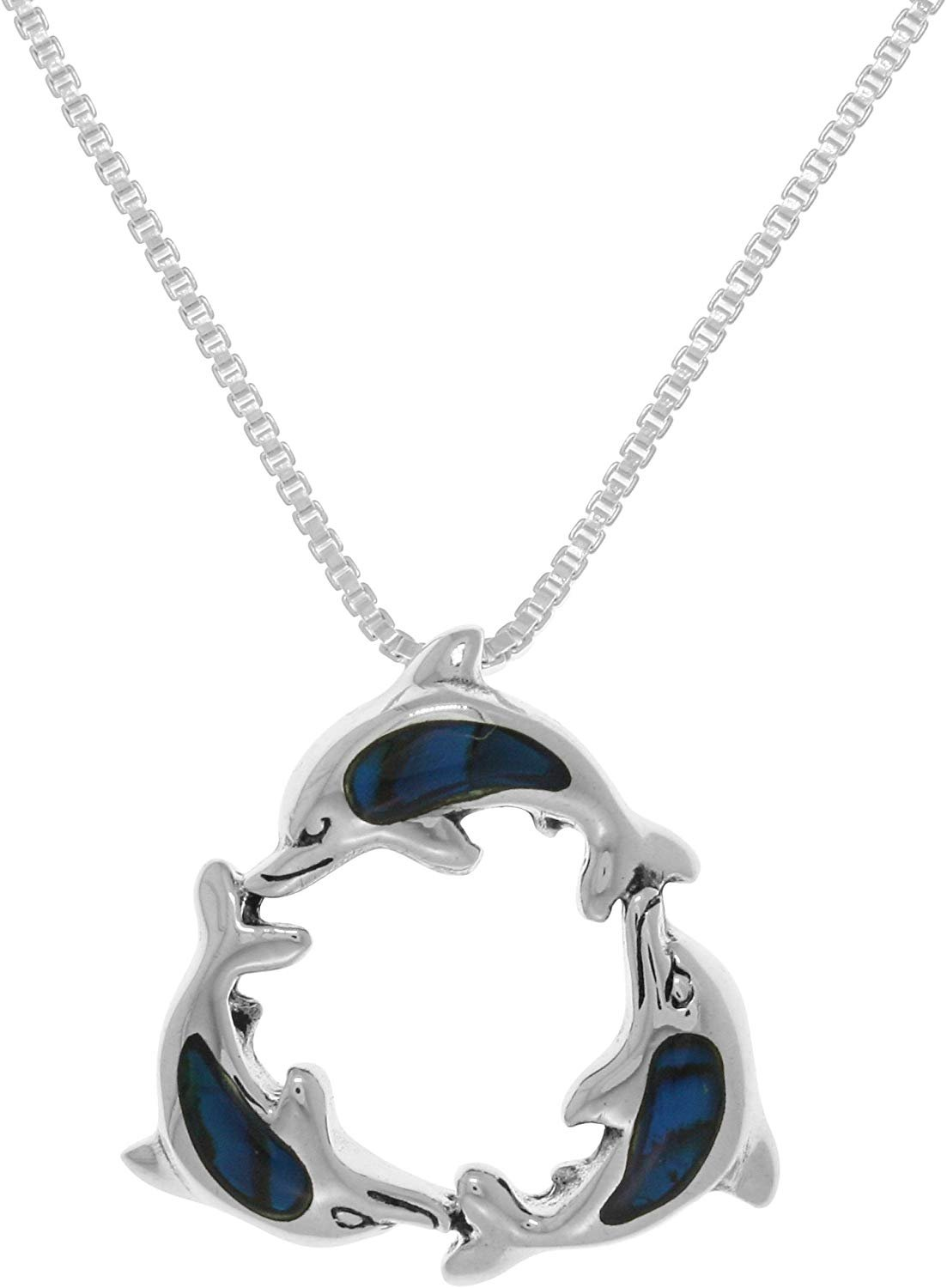 Jewelry Trends Sterling Silver Paua Shell Trinity Dolphins Pendant on Box Chain Necklace