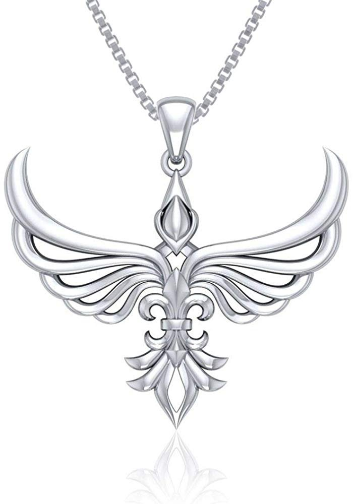 Jewelry Trends Rising Phoenix Sterling Silver Modern Style Pendant Necklace 18""