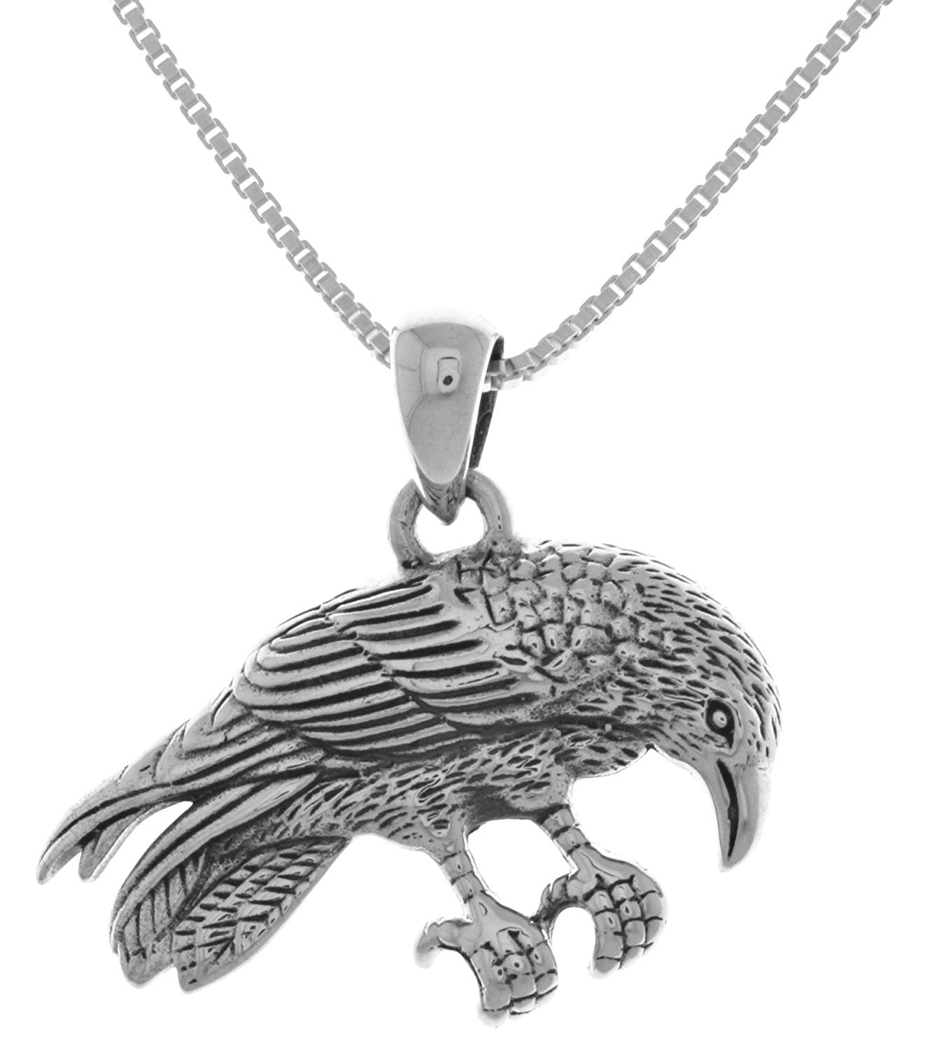 Jewelry Trends Sterling Silver Perching Raven Pendant Necklace 18""