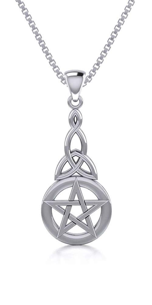 Jewelry Trends Sterling Silver Pentacle Knot Pendant Necklace 18""