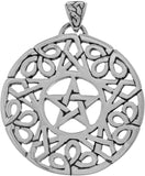 Jewelry Trends Sterling Silver Pentacle with Celtic Knot Border Pendant