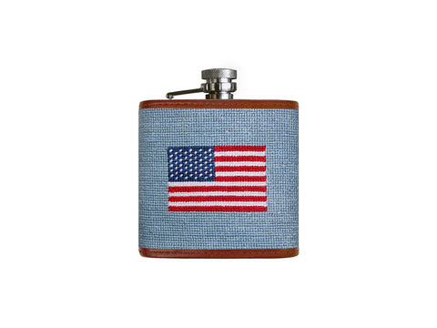 American Flag (Antique Blue) Needlepoint Flask