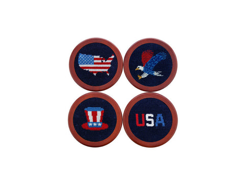 Americana Needlepoint Coaster Set