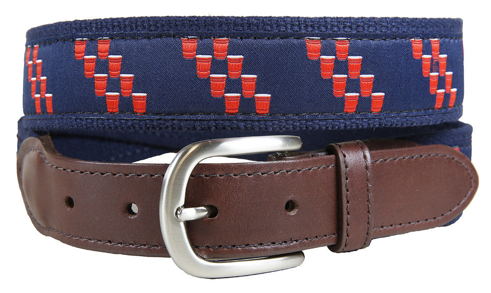 Red Cup Stripe Leather Tab Belt
