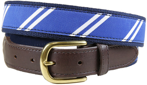 "Blue White Repeating Stripe ""UK"" Belt"
