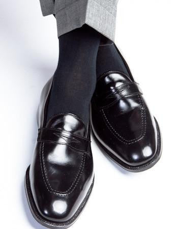 Black Ribbed Cotton Linked Toe Mid-Calf