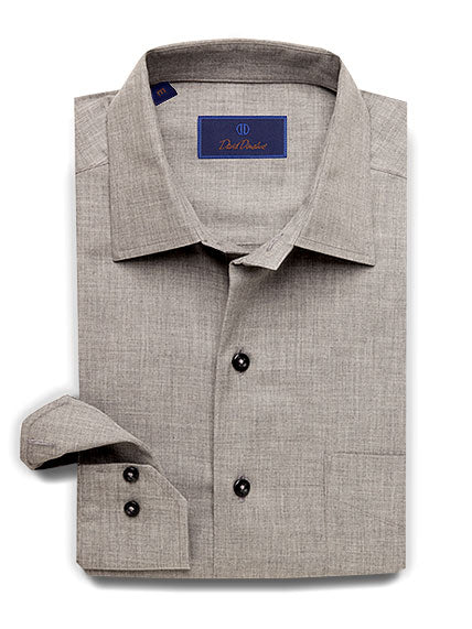 Lightly Brushed Melange Fine Line Twill Stripe Sport Shirt Charcoal