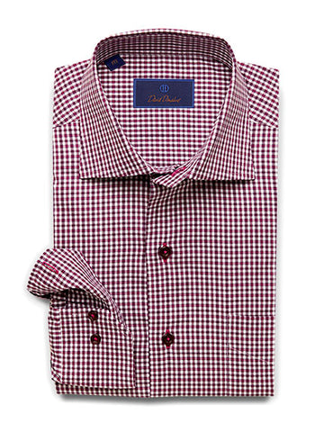 Basket Weave Mini Check Sport Shirt Berry