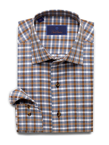 Lightly Brushed Melange Herringbone Check Sport Shirt Blue/Chocolate