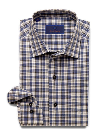 Lightly Brushed Melange Denim Plaid Shirt Blue/Charcoal