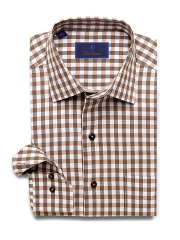 Lightly Brushed Jaspey Yarns Basket Weave Gingham Sport Shirt Chocolate