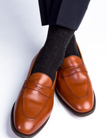 Charcoal Ribbed Fine Merino Wool Linked Toe Mid Calf