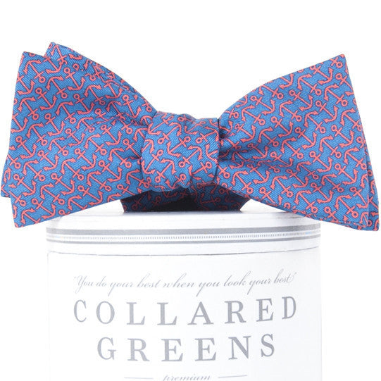 Ahoy Anchor Pink & Blue Bow Tie