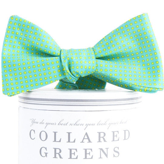 Hemingway Pindot Turquoise & Lime Bow Tie