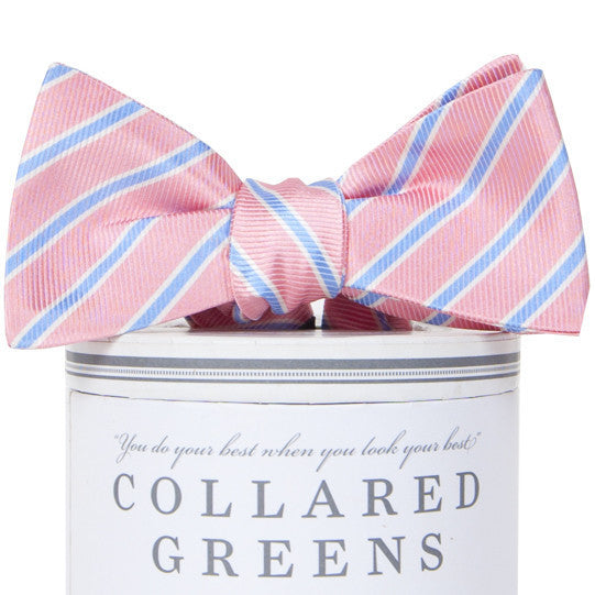 Whitman Pink & Carolina Blue Stripe Bow Tie