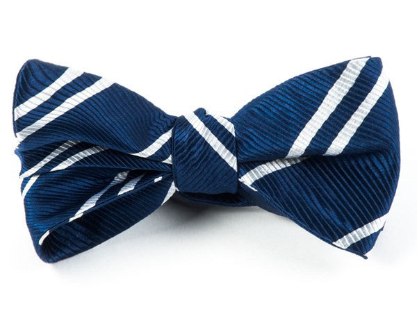 Double Stripe Navy Bow Tie