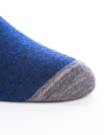 Blue Melange with Navy and Grey Tipping Sock Linked Toe Mid-Calf