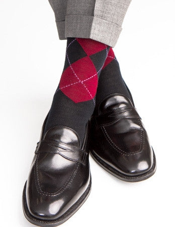 Black with Burgundy and Purple Argyle Sock Fine Merino Wool Linked Toe Mid-Calf