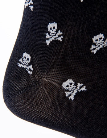 Black with White Skull and Crossbone Sock Linked Toe Mid-Calf