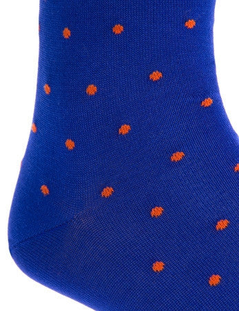 Clematis Blue with Tigerlily Orange Dot Linked Toe Mid-Calf