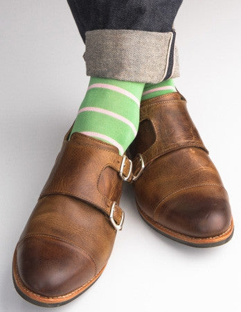Green Grass with Pink Stripe Sock Linked Toe Mid-Calf