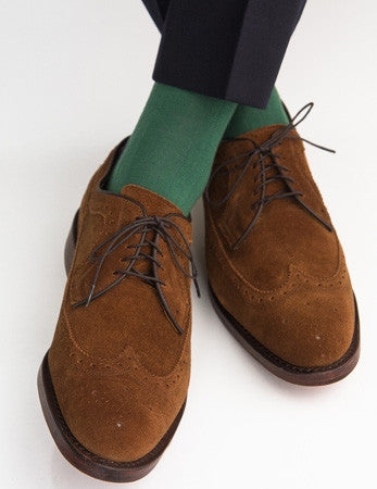 Hunter Green Ribbed Navy Tipping Fine Merino Wool Linked Toe Mid-Calf
