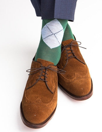Hunter Green, Sky Blue and Navy Argyle Merino Wool Linked Toe Mid-Calf