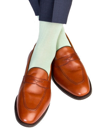 Mint Green Ribbed Sock Linked Toe Mid-Calf