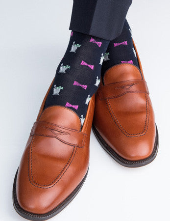 Navy with Pink Bow Tie Mint Julep Sock Linked Toe Mid-Calf