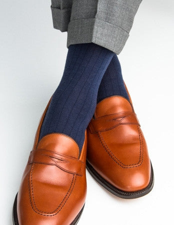 Dress Navy Sock Fine Merino Wool Mid-Calf Linked Toe
