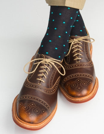 Navy with Ceramic Polka Dot Linked Toe Mid-Calf