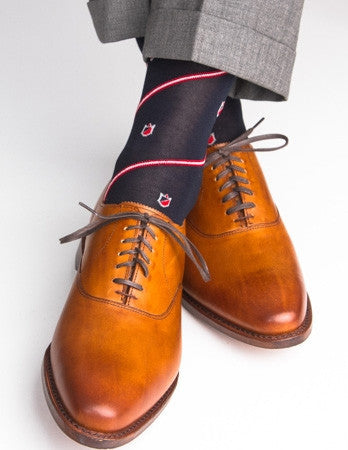 Navy with Red Crest Linked Toe Mid-Calf