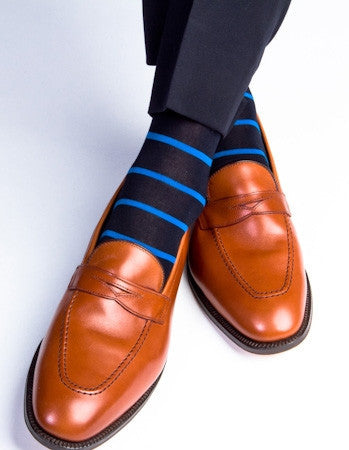 Navy with Royal Stripe Sock Linked Toe Mid-Calf