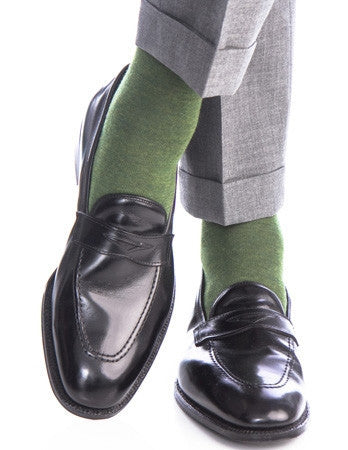 Olive Green Melange Grey Heel and Toe Fine Merino Wool Linked Toe Mid-Calf