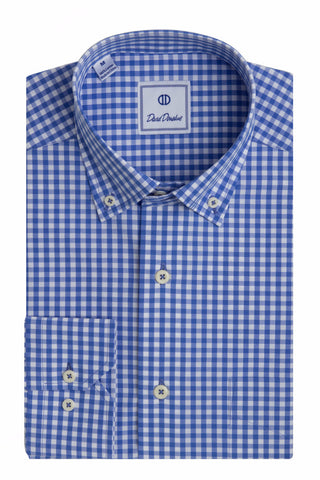 "Blue & White ""UK"" Gingham Sport Shirt"