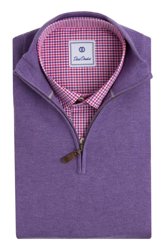 Long Sleeve Quarter Zip Sweater - Purple