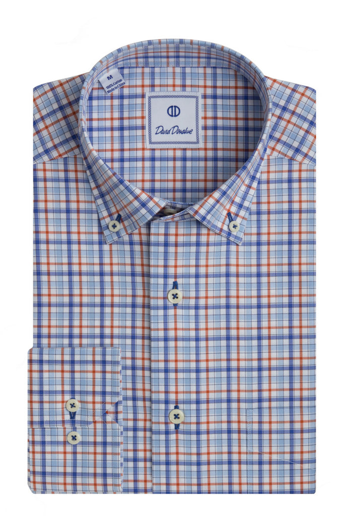 Blue & Orange Twill Weave Bright Overbar Sport Shirt