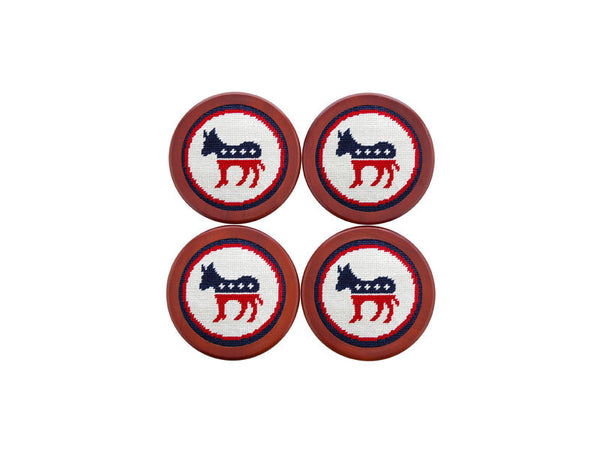 Democrat Needlepoint Coaster Set