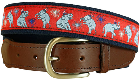 GOP Elephant Leather Tab Belt